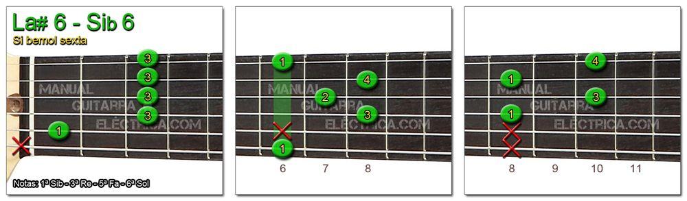 Acordes Guitarra Si Bemol sexta