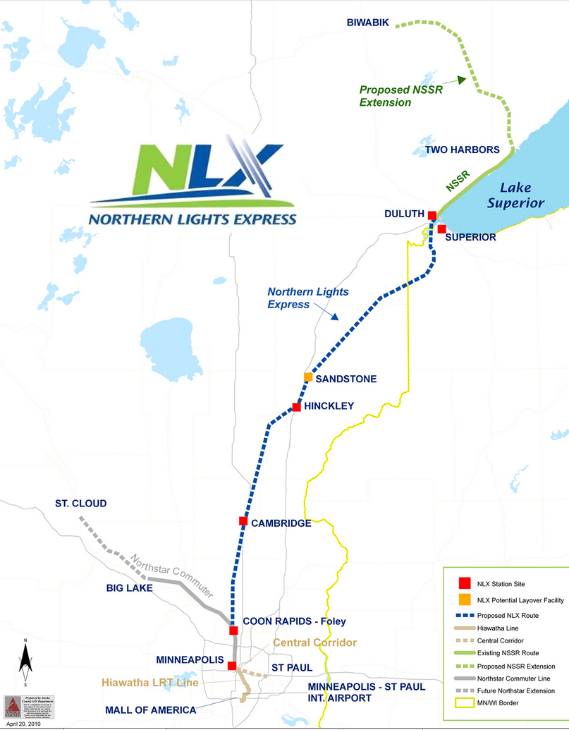 the northern lights express would run along existing bnsf railway track from the twin cities to hinckley minnesota at which point it would cross the