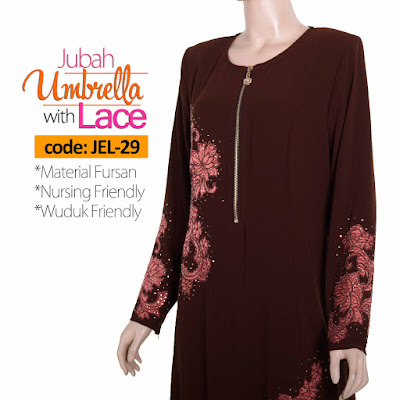 Jubah Umbrella Lace JEL-29 Brown Depan 5