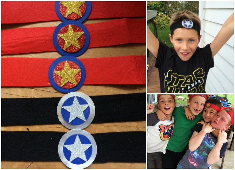 Team headbands made from felt and craft card, with a velcro fastening