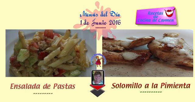 Menús del día 1-6-2016