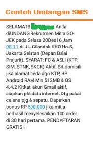 Contoh Mengirim Lamaran Pendaftaran Gojek Via SMS - Gojekers Indonesia