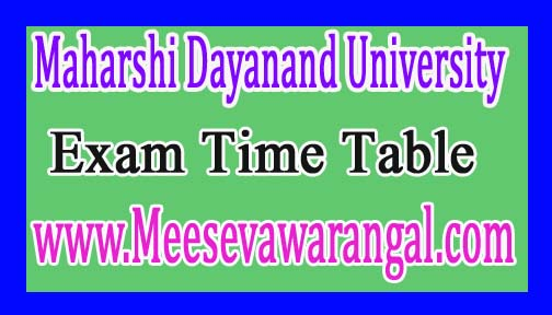 Maharshi Dayanand University BE / B.Tech All Sem Special Dec 2016 Exam Time Table