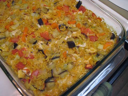 Baked Orzo with Eggplant and Chicken