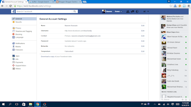Facebook Setting General click on edit- Facebbok