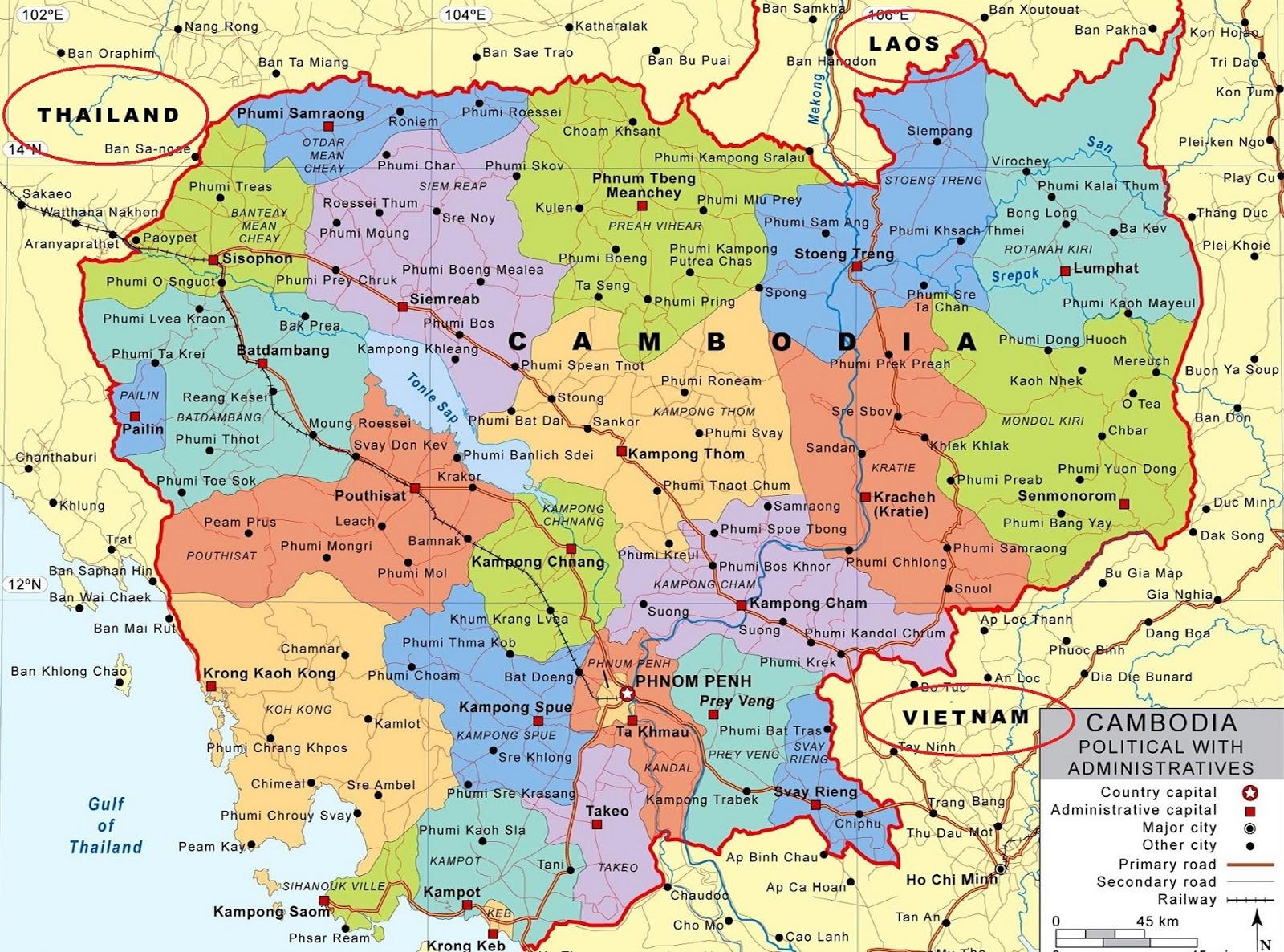 Peta Negara Kamboja Gambar HD