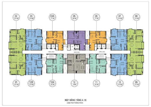 Mặt bằng thiết kế tầng 4 - 16 One 18 Ngọc Lâm