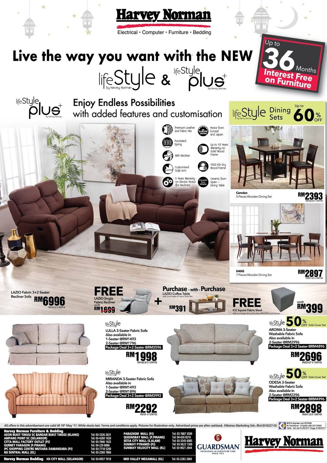 sofa furniture sale malaysia double bed hotel harvey norman ramadhan al mubarak until 9 june 2017