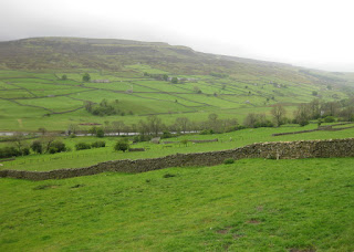 Rocky Grinton Moor with green fields and stone walls in the foreground, Yorkshire Dales, England