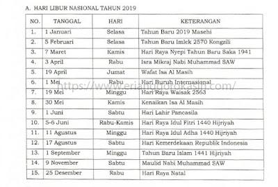 Daftar hari libur nasional tahun 2019