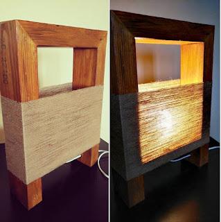 lamparas hechas con madera y cuerda