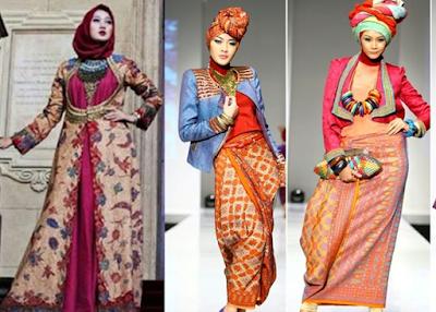 Model Gamis Batik Kombinasi Dian Pelangi