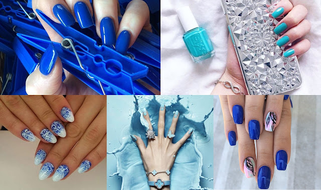 niebieskie paznokcie galeria