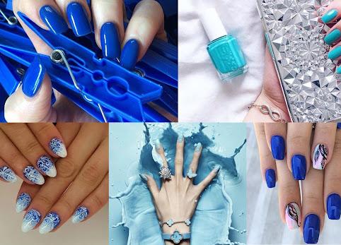 Niebieskie paznokcie - HIT , galeria i zdjęcia. Zdobienia paznokci na wakacje. Najpiękniejsze kobaltowe paznokcie idealne nad morze.