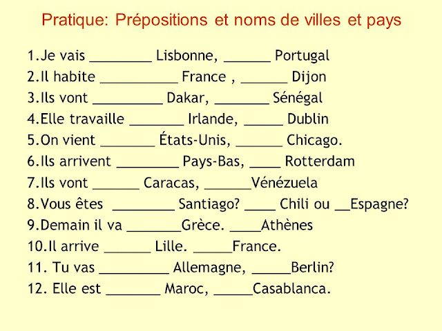 Przyimki występujące z miastami i krajami - ćwiczenie 1 - Francuski przy kawie