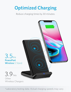 Anker PowerPort Wireless 5 Stand, 5W Standard Qi-Certified Wireless Charger for iPhone X, iPhone 8 / 8 Plus (AC Adapter Not Included)