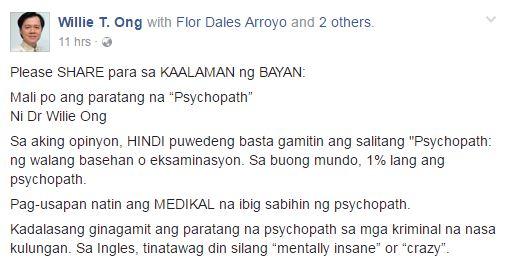 Doc Willie Ong of 'Salamat Dok': 'Mali Ang Paggamit Ng Salitang Psychopath'