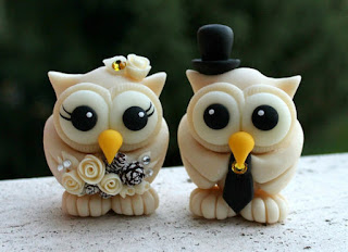elegant owl wedding cake topper