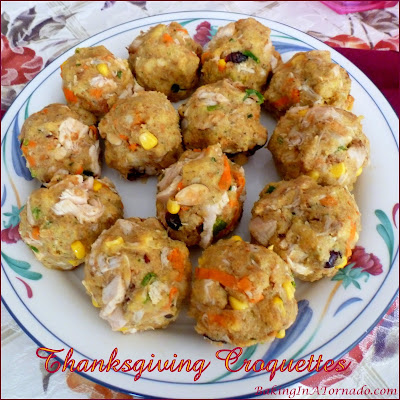 Use holiday leftovers or start from scratch, Thanksgiving Croquettes are an easy and delicious lunch or dinner incorporating all of the flavors of the holiday. | Recipe developed by www.BakingInATornado.com | #recipe #holiday #dinner