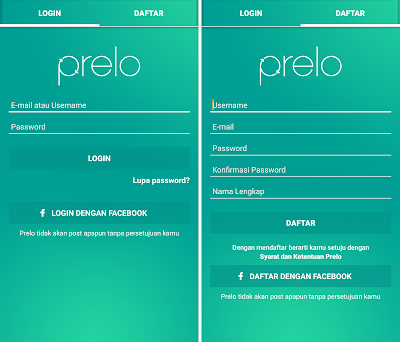 Halaman login Prelo