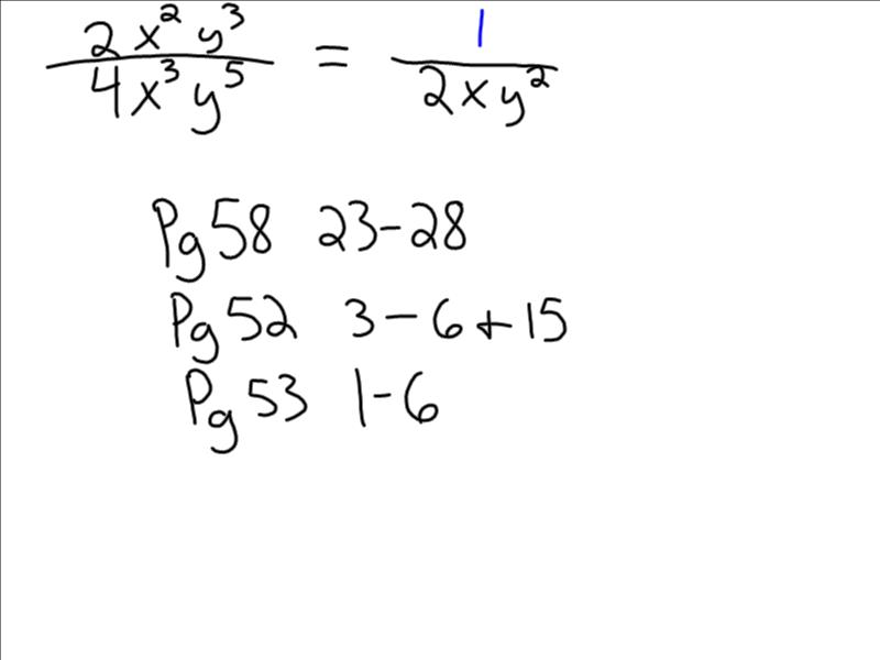Mrs. Gordon's Awesome Algebra Classes!: Dividing Monomials