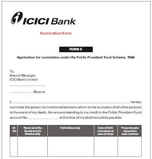 ICICI PPF Nomination Form