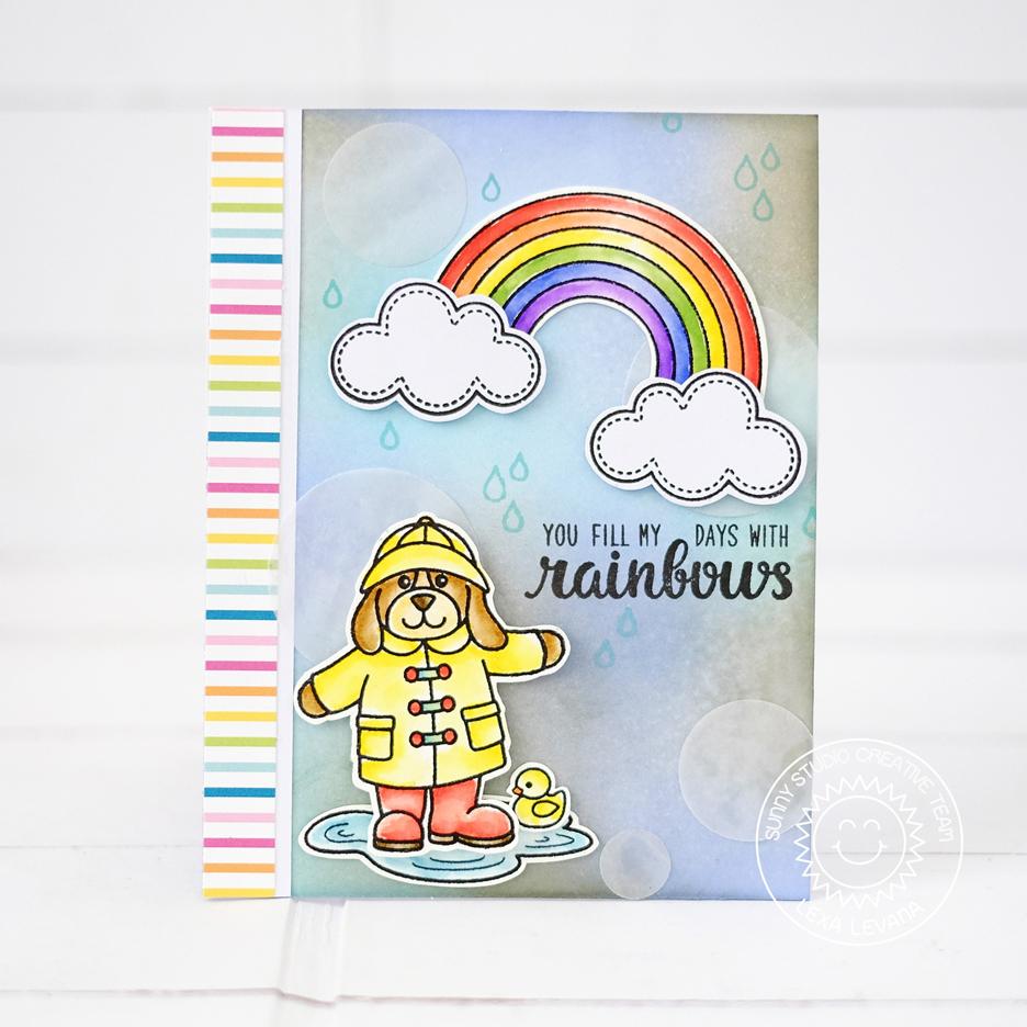 Happy Rainy Day: Sunny Studio: Color Me Happy Rainy Day Rainbow Card With Lexa