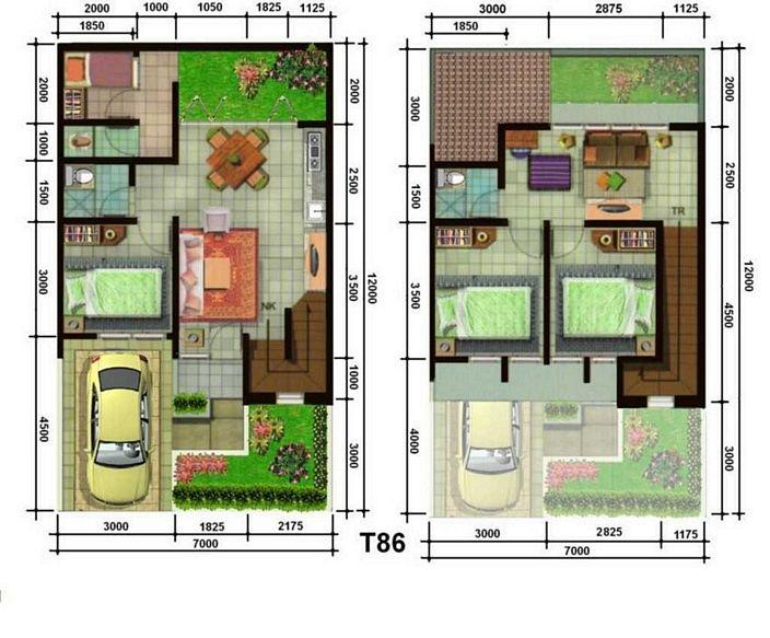 denah rumah ukuran tanah 7x12m lantai 2 yang moderen