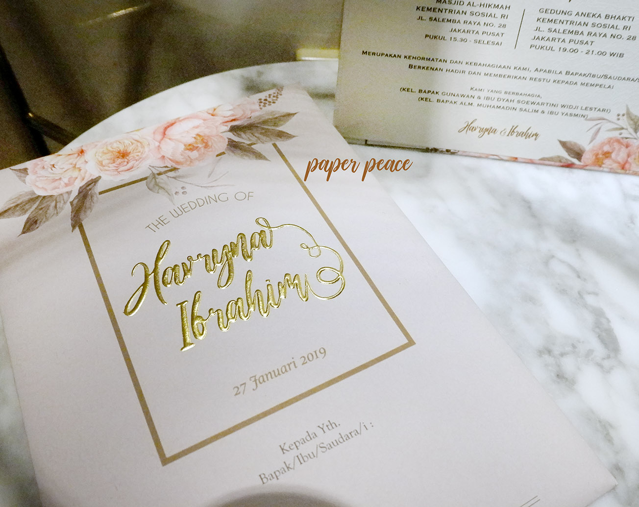 Paperpeace Wedding Invitation For Ms Havryna Mr Ibrahim