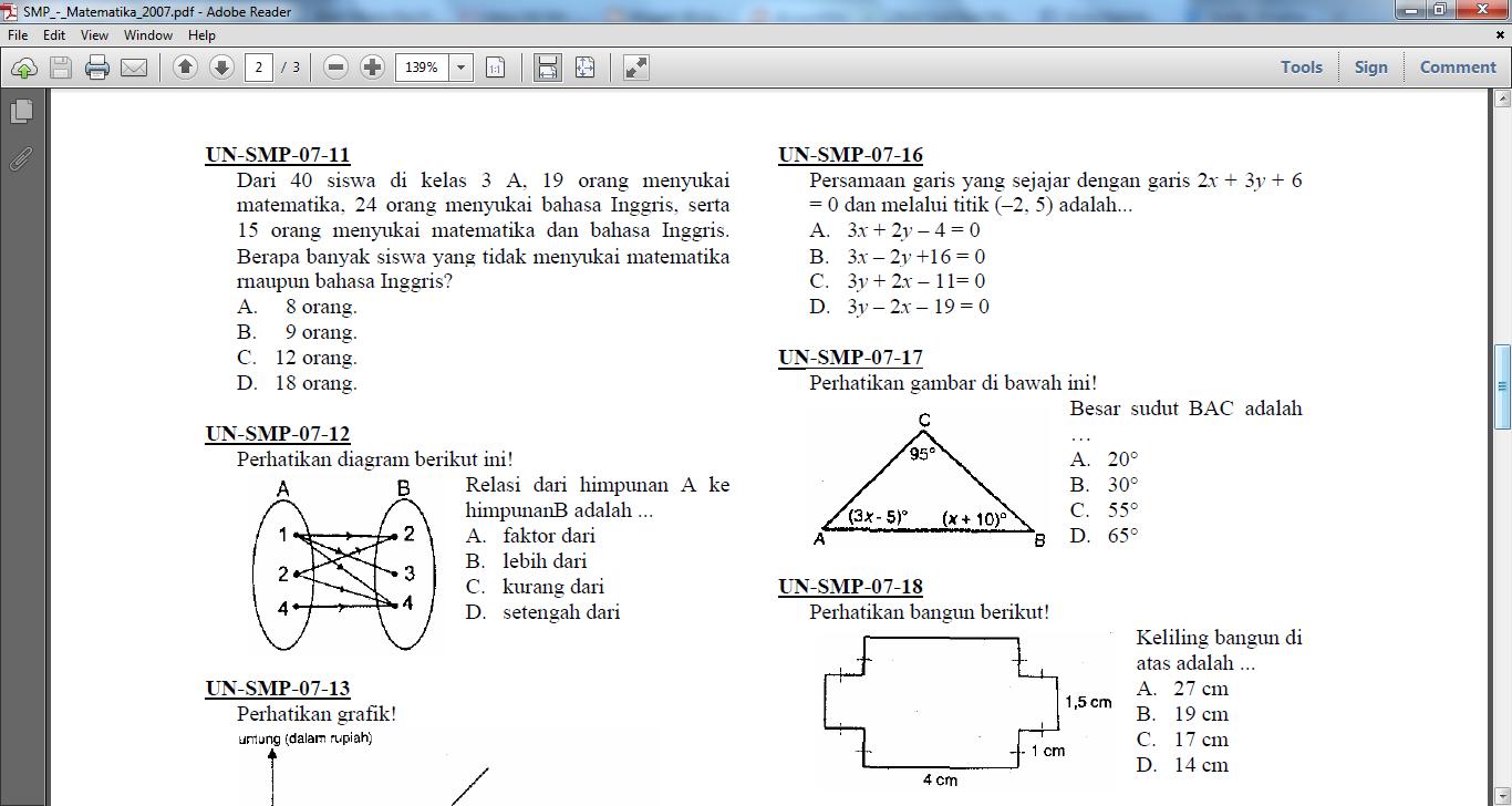 Coachdika Kumpulan Soal Un Smp Matematika
