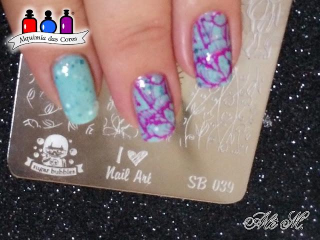 Jindie Nails, Snow Angels, SB039, Sugar Bubbles, Carimbada, Magenta, La Femme, Indie Polish, Artisan nail polish, Alê M.
