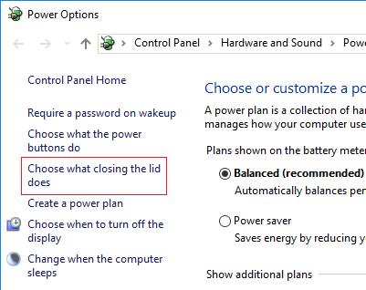 Control Panel Power Options