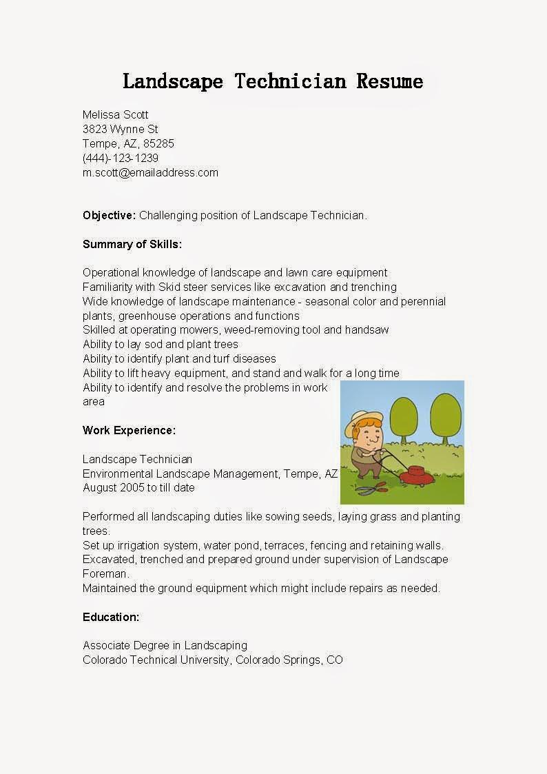 resume samples  landscape technician resume sample