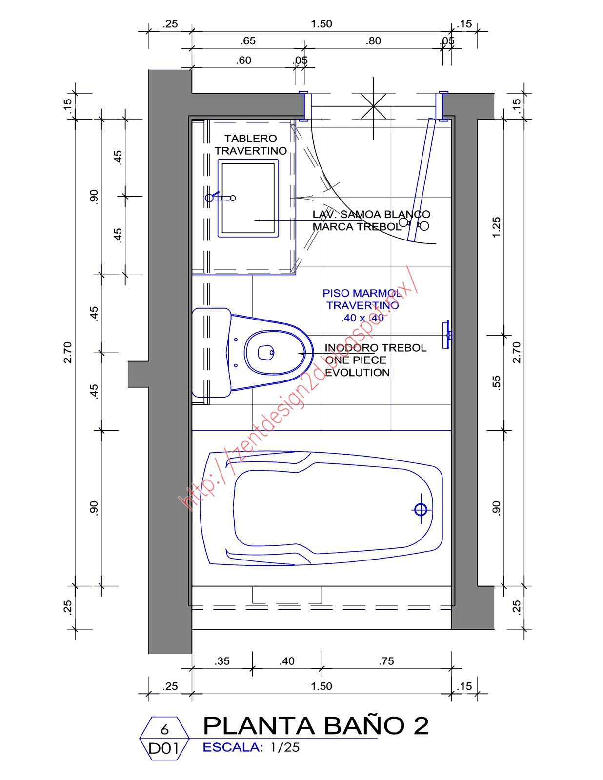 bathroom - dimension - baÑos ~ zent design 2d