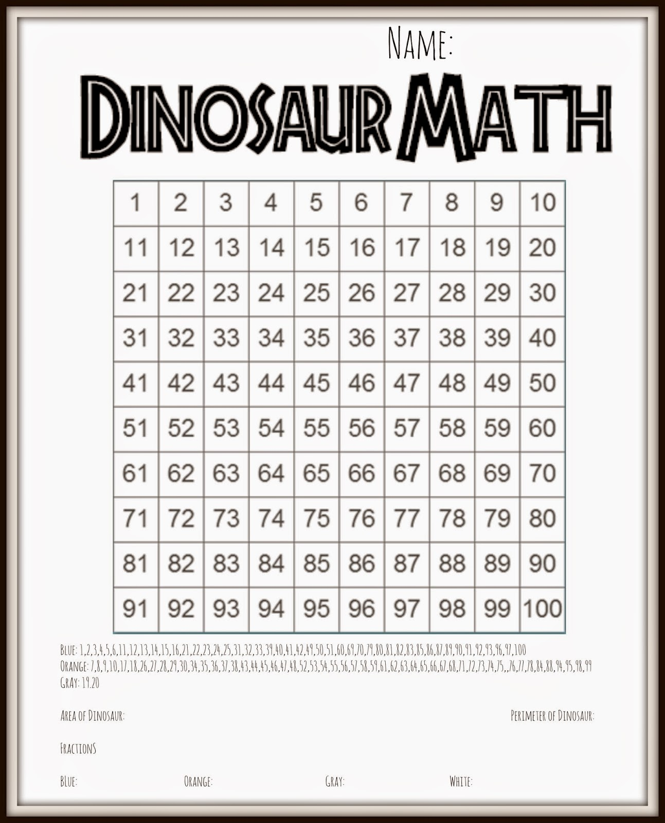 3rd Dinosaur Math Area Perimeter Fractions
