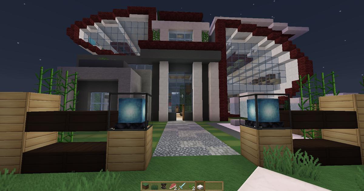 Casa futurista y moderna minecraft schematics for Casa moderna 1 8