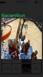 Спортсмены играют в баскетбол, забрасывают мяч в кольцо