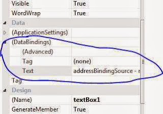 """Add project data source "" link  in Text property of (DataBindings) tab"