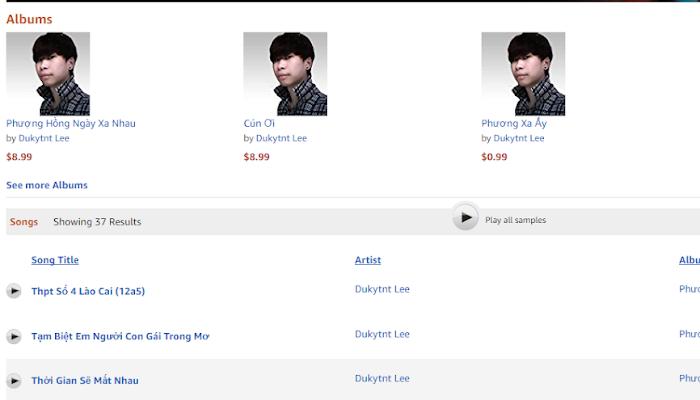 Album của Dukytnt Lee được chào bán trên Amazon