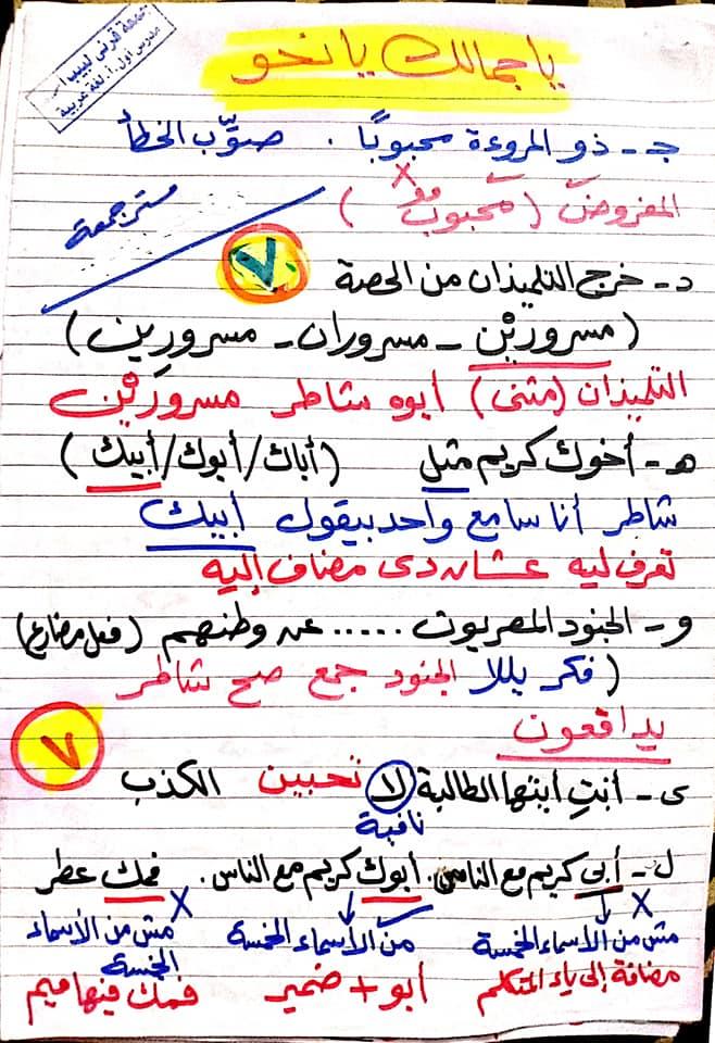 مراجعة اللغة العربية للصف السادس الابتدائي ترم ثاني أ/ جمعة قرني لبيب 7