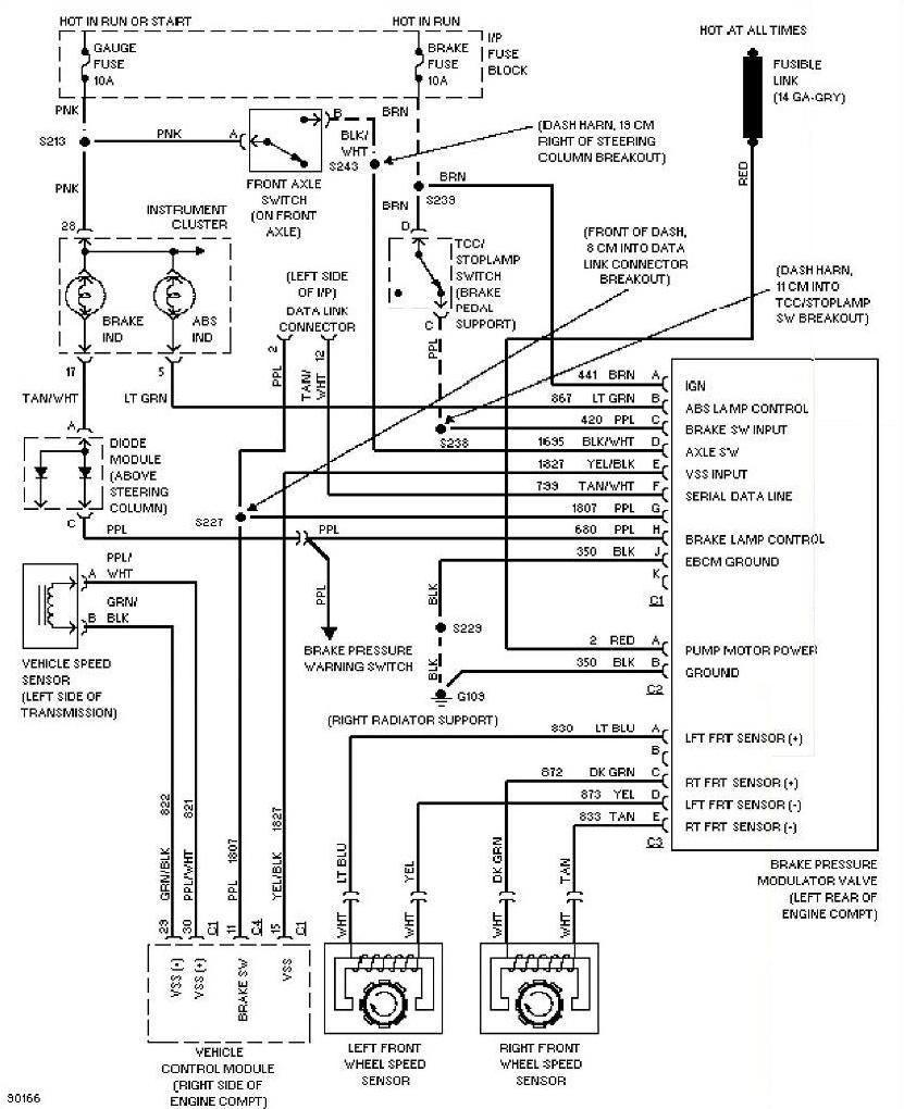 1997 Chevrolet Blazer Anti lock Brake Circuits Wiring