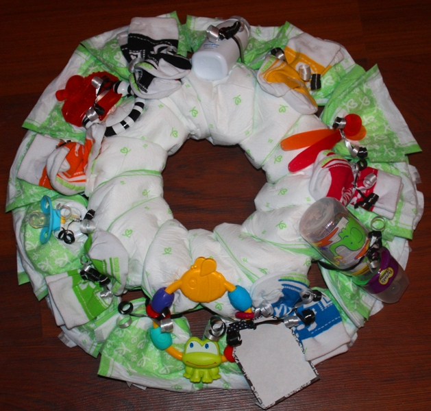 Baby Shower Wreath Instructions: Christy: Diaper Wreath