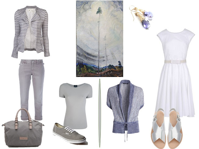 two outfits in grey white and soft blue based on Scorned as Timber, Beloved of the Sky by Emily Carr