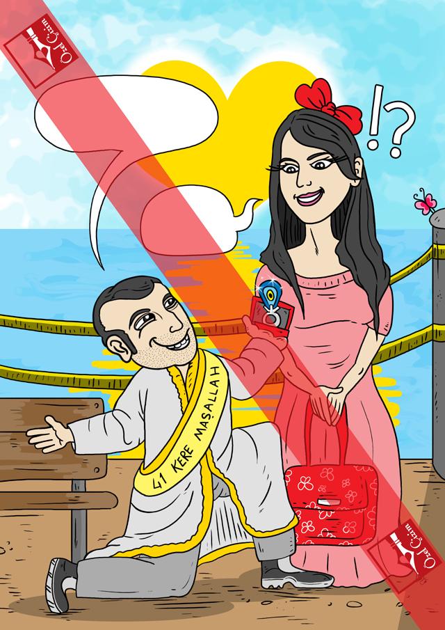 karikatür, karikatür çizdir, evlilik teklifi, evlilik, hediye karikatür, evlenme teklifi fikirleri, benimle evlenir misin?, eğlenceli evlenme teklifleri, aşkınıza karikatür, illustrasyon, Resim Çizdir,