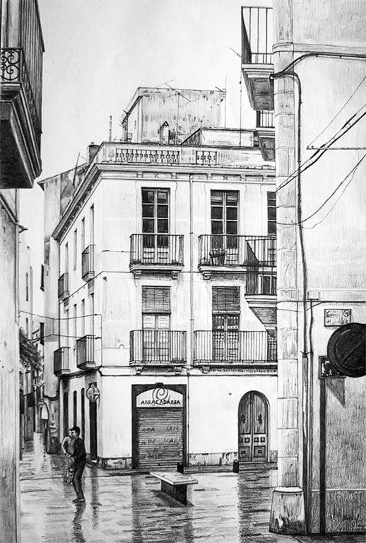 05-Calle-de-Vilanova-i-la-Geltrú-Daniel-Formigo-Pencil-Urban-Architectural-Drawings-www-designstack-co