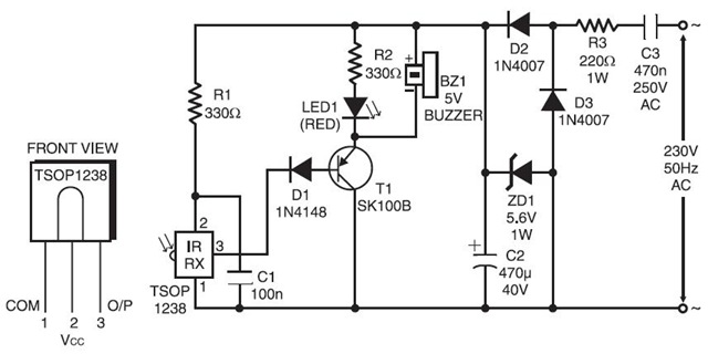 ir remote control tester circuit schematic