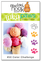 Inky Paws Challenge #50 | Color Challenge: White, Melon, Grape and Strawberry | Newton's Nook Designs #newtonsnook