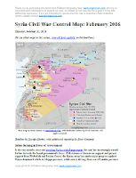 Map of fighting and territorial control in Syria's Civil War (Free Syrian Army rebels, Kurdish YPG, Syrian Democratic Forces (SDF), Al-Nusra Front, Islamic State (ISIS/ISIL), and others), updated for February 2016. Now includes terrain and major roads (highways). Highlights recent locations of conflict and territorial control changes, such as Menagh airbase, northern Aleppo, Salma, Rabia, Nubl, Baghaliya, Tishrin Dam, and more.
