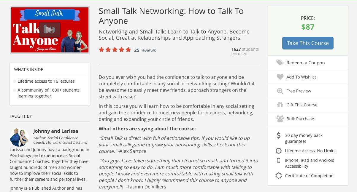 Udemy Course: Small Talk COUPON CODE | JohnnyFD com - Follow
