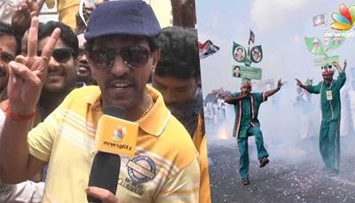 Actor Vaiyapuri and ADMK'S partymen celebrate election victory 2016